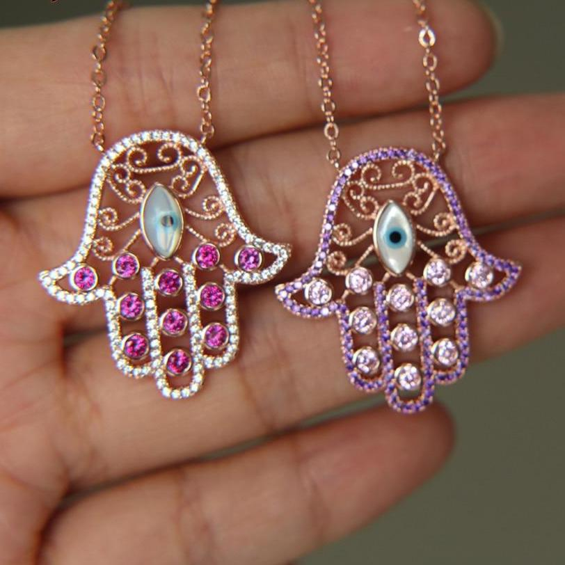 Sparkly Crystal Lucky Hamsa Necklace - 2 Colors