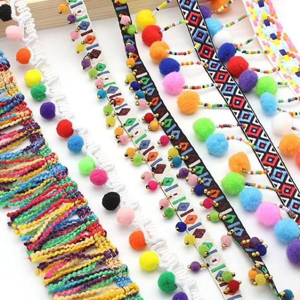 1 Yard Colorful Pom Pom & Tassel Garlands -  11 Styles