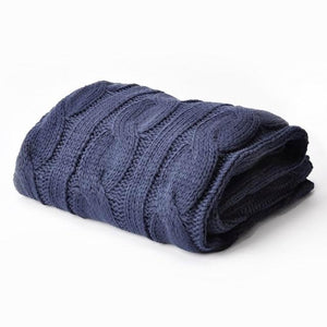Soft Knitted Dual Cable Throw Blanket - 7 Colors