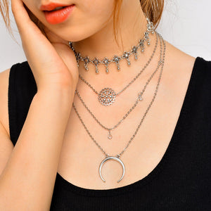 Elegant Fashion Simple Multilayer Pendant Choker Bohemia Flower Crescent Moon Chic Alloy Necklace Jewelry For Women Accessories