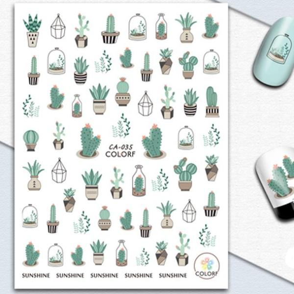 Cactus & Terrariums Water Transfer Sticker Nail Art Decals - 1 Sheet