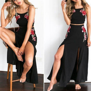 Rose Embroidered Crop Top & Maxi Skirt - 2pc/ Set