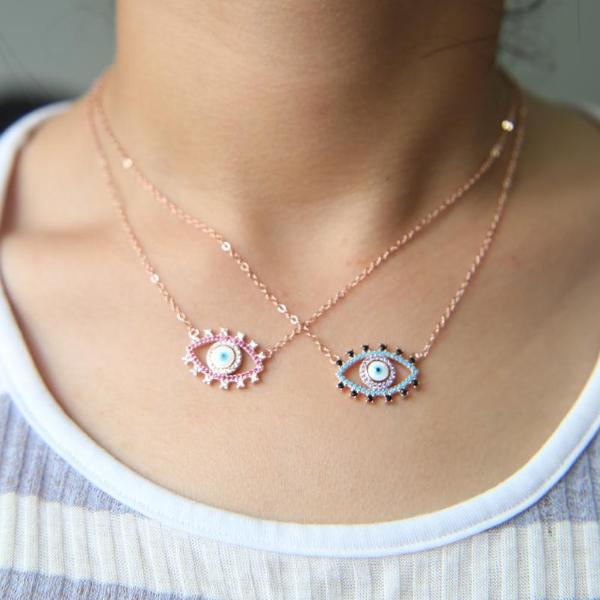 Sparkly Colorful Lucky Eye Cubic Zirconia Necklace - 3 Styles