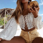 Sexy Lacey Tie Up Boho Blouse - 2 Colors
