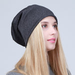 Geebro Women's Plain Beanie Hat 2018 Spring Cotton Slouchy Beanie for Women Knitted Bone Hat Ladies Black Skullies Cap JS293A