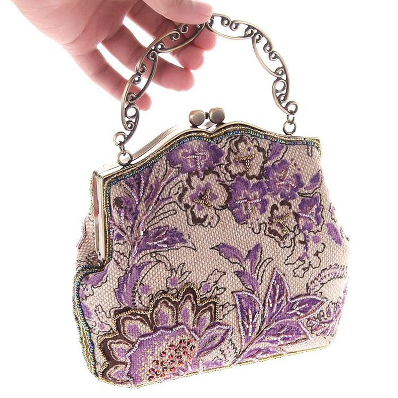 2018 National Chinese Style Vintage Embroidery Beading Flower Women Day Clutches Retro Bridal Wedding Evening Bags Handbag Purse