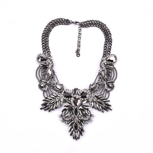 PPG&PGG 2018 New Lady Charm Maxi Jewelry AB Crystal Flower Double Chain Rhinestone Bib Statement Necklaces Women Party Jewelry