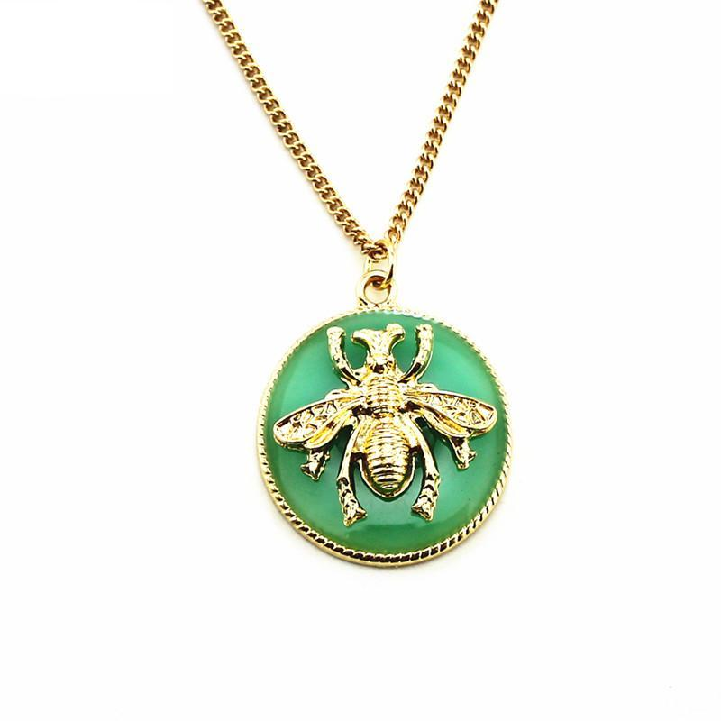 Kelly Green & Gold Bee Pendant Necklace