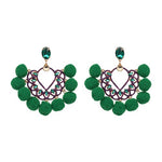Pom Pom Drop Earrings - 5 Colors