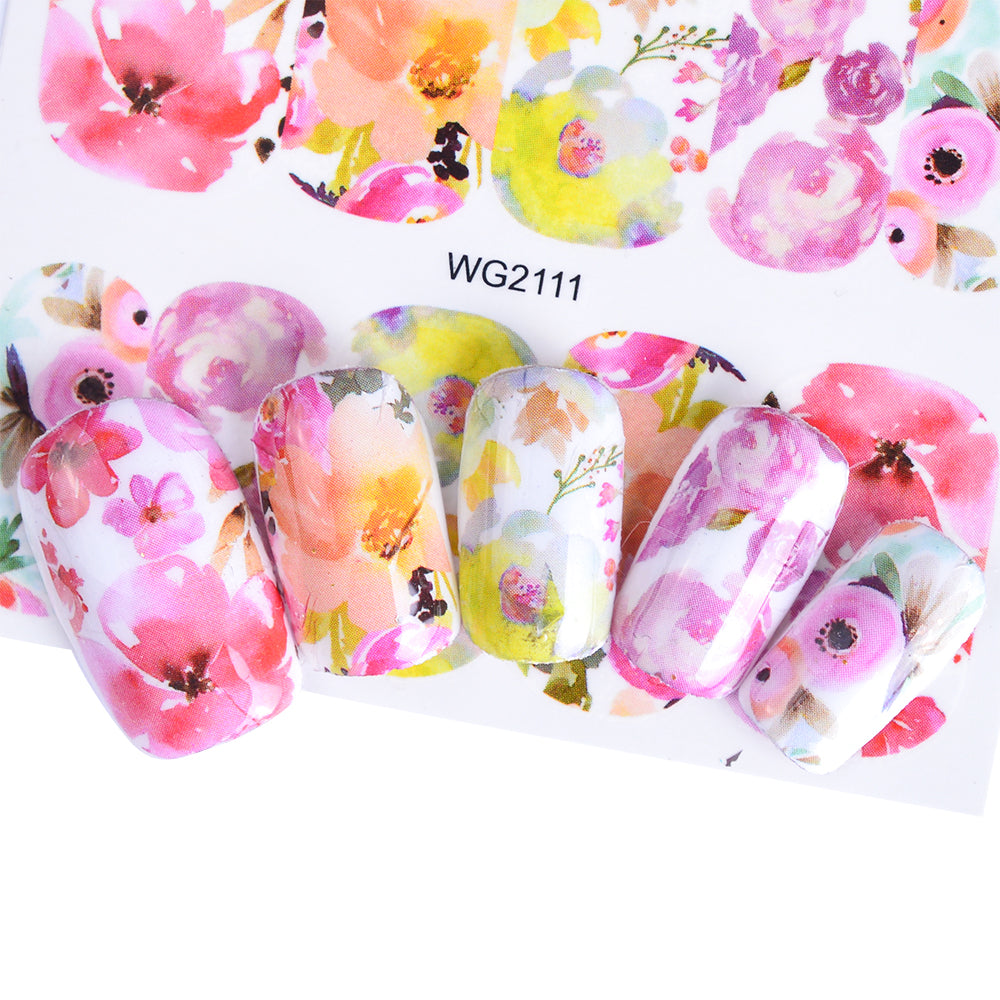 Full Beauty 1pcs Nail Sticker Optional Blossom Colorful Flower Rose Valentine Water Full Wraps Nail Art Decals Charms Tips CHWG
