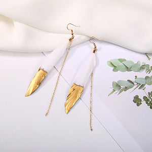 KARASU Bohemian Feather Tassel Earrings Long Chain Drop Earring For Women Girl Gift Female Fashion Jewelry