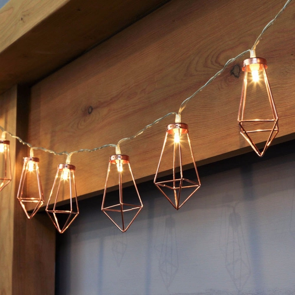 Copper Diamond Cage LED Fairy Lights - 2 Lengths