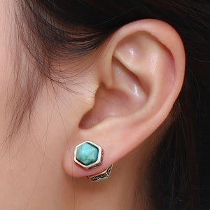 Antique Style Double-sided Turquoise Points Stud Earrings - 2 Colors