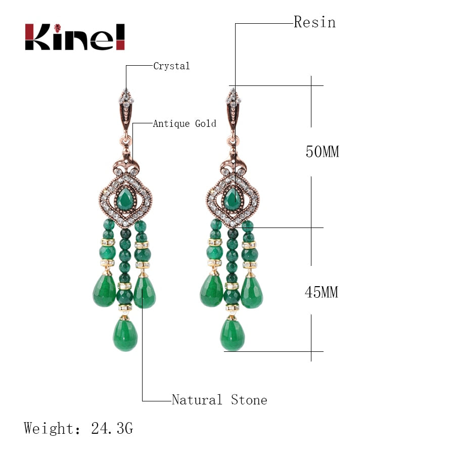Kinel Luxury Natural Stone Tassel Earrings For Women Antique Gold Color Fashion Vintage Crystal Jewelry Gift