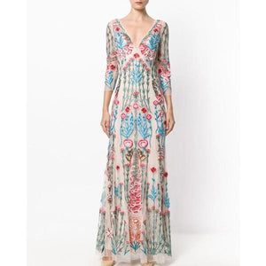 Ornate Floral Embroidered Sheer Maxi Dress