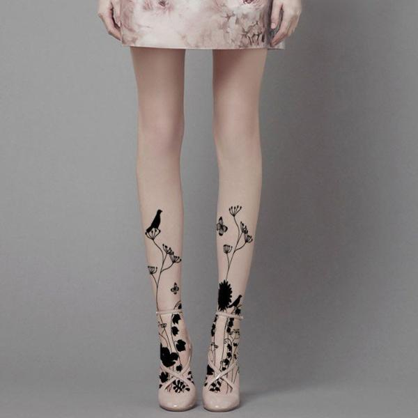 Spring Time Silhouette Tattoo Stockings