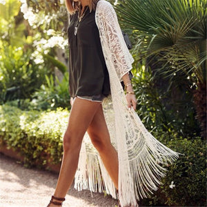 Beach Blouses 2018 Full Plus Size Kimono White Bohemian Blouse Women Summer Vintage Blouses Sexy Hollow Out Tunic Blouse #N405