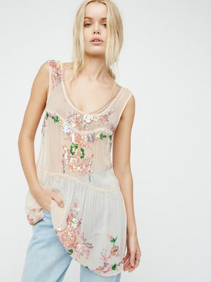 Sequined Sheer Mesh Mini Dress/ Top - Pink