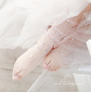 Pair of Sparkly Rhinestone Star Tulle Socks - 6 Colors