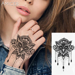 1PC Sexy Lace Owl Hot Black White Large Flower Henna Temporary Tattoo Black Mehndi Style Waterproof Tattoo Sticker