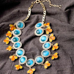 Unique Bohemian Blue & Orange Necklace