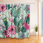 Cactus Flower Polyester Fabric Waterproof Shower Curtain Bathroom Curtain with Hooks Home Decor Bathroom Accessory 180*180cm 1PC