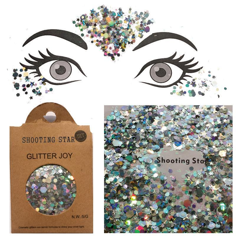 "Festival Glitter - ""Shooting Star"" - Silver Holographic Stars & Hexagons"