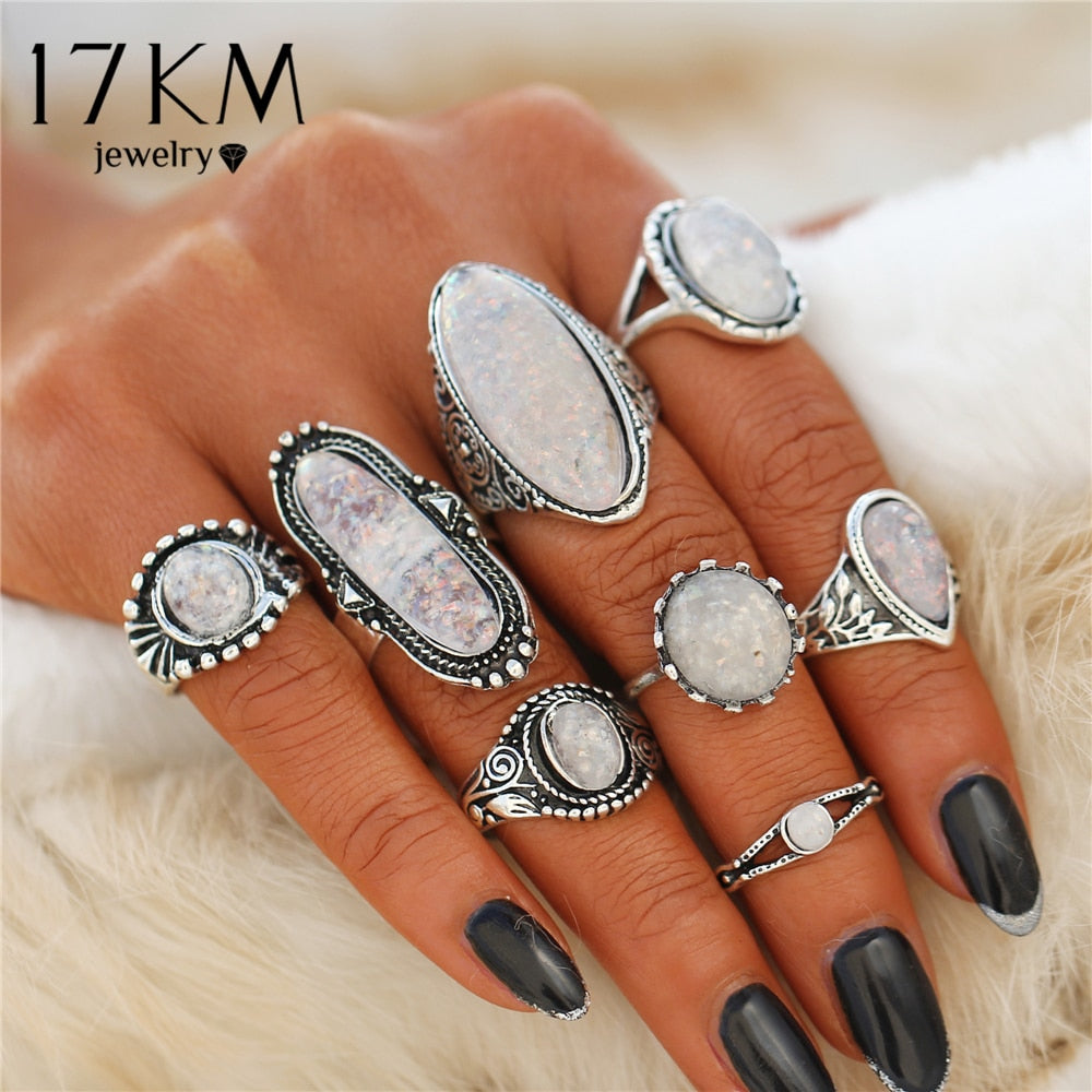 17KM BOHO Big Opal Stone Midi Rings Set For Women New Design Retro Silver Color Vintage Finger Knuckle Ring Set Jewelry 2018