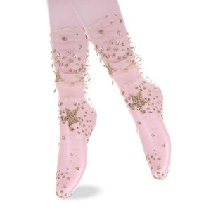 Glittery Galaxy Stars Sheer Tulle Socks - 3 Colors