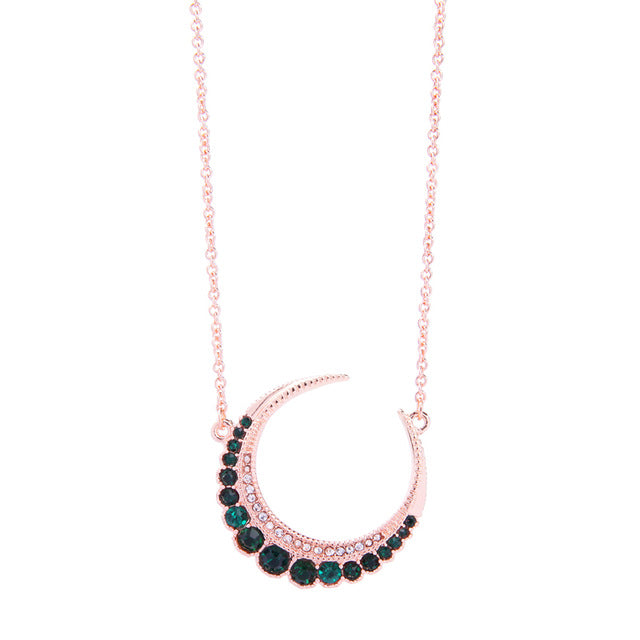 Crystal Moon Pendant Necklace - 3 Colors