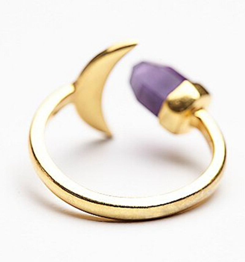 Purple Crystal and Moon Ring