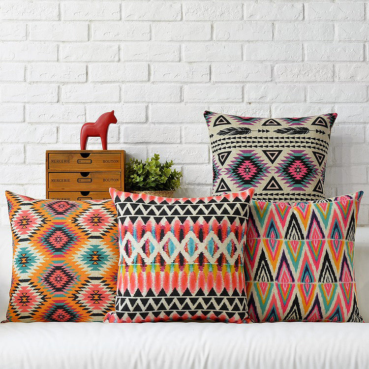 Colorful Geometric Tribal Pattern Pillow Cover - 4 Styles