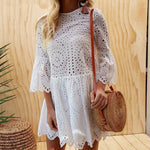 Ruffles Lace Hollow Out Summer Sundress Kawaii Girls A-Line Mini Dresses Women Casual O-neck Flare Sleeve Dress Plus Size GV200