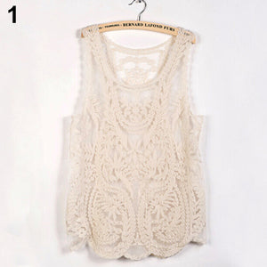 Women's Sleeveless Lace Tank Top Sexy Embroidery Hollow-out Floral Crochet Shirt