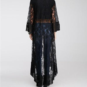 Sexy Lace Kimono Duster with Fringe