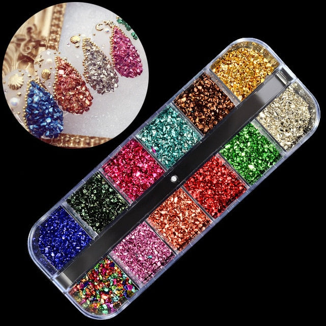 1set Crystal Gallet Rhinestones For Nails Jewelry Gems 12 Color Nail Art Decoration Studs Rhinestone Beads Nail Accessories Tool