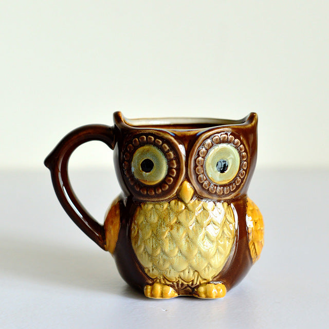 Xmas Gift 3D Animal Cute Owl Mugs 300ml Cartoon Coffee Mug Ceramic Milk Tea Cups Breakfast Morning Coffee Mug