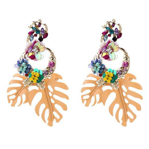 Tropical Monstera Leaf Statement Earrings - 7 Colors