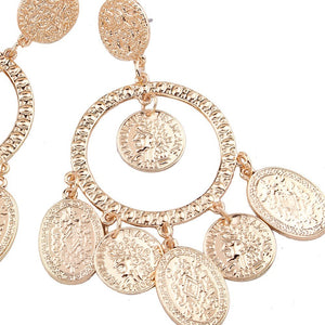 Dangly Baroque Gold Coins Statement Earrings