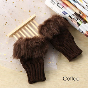 Faux Fur Fingerless Knit Gloves - 9 Colors