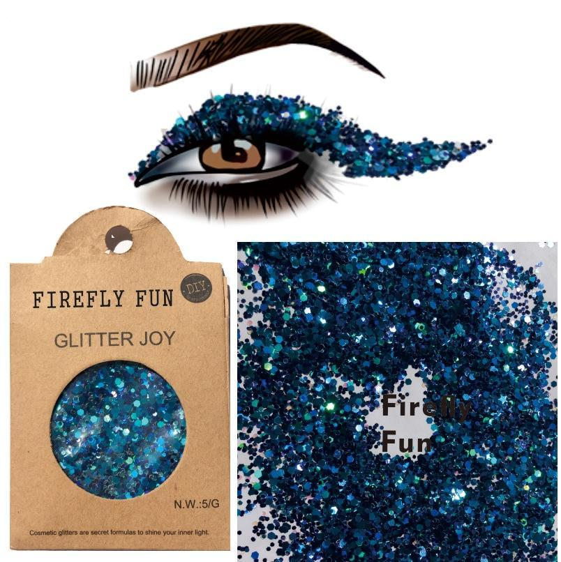 "Festival Glitter - ""Firefly Fun"" - Dark Teal Mixed Shapes"