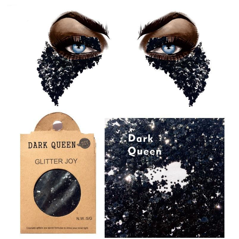 "Festival Glitter - ""Dark Queen"" - Black Mixed Shapes"