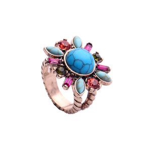 KISS ME Charming Synthetic Stone Crystal Flower Rings for Women New Design Party Finger Ring Fashion Jewelry