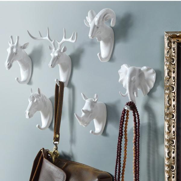 Animal Head Wall Hanging Hooks - 3 Colors & 6 Animals