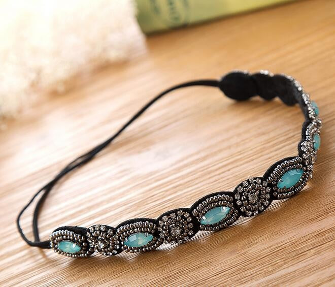 b0f84fdc1d Vintage Bohemian Ethnic Turquoise Metal Beads Flower Crystal ...