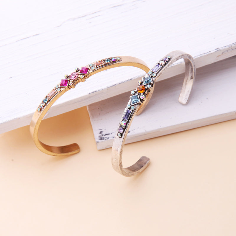 KISS ME Antique Gold Silver Color Alloy Glass Crystal Bracelets Bangles 2018 New Women Vintage Open Bangle Female Accessories