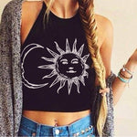 CDJLFH 2018 Summer Women Backless Halter Sleeveless Crop Top Shirt Women Moon Sun Harajuku Print Camis Black White Tank Top