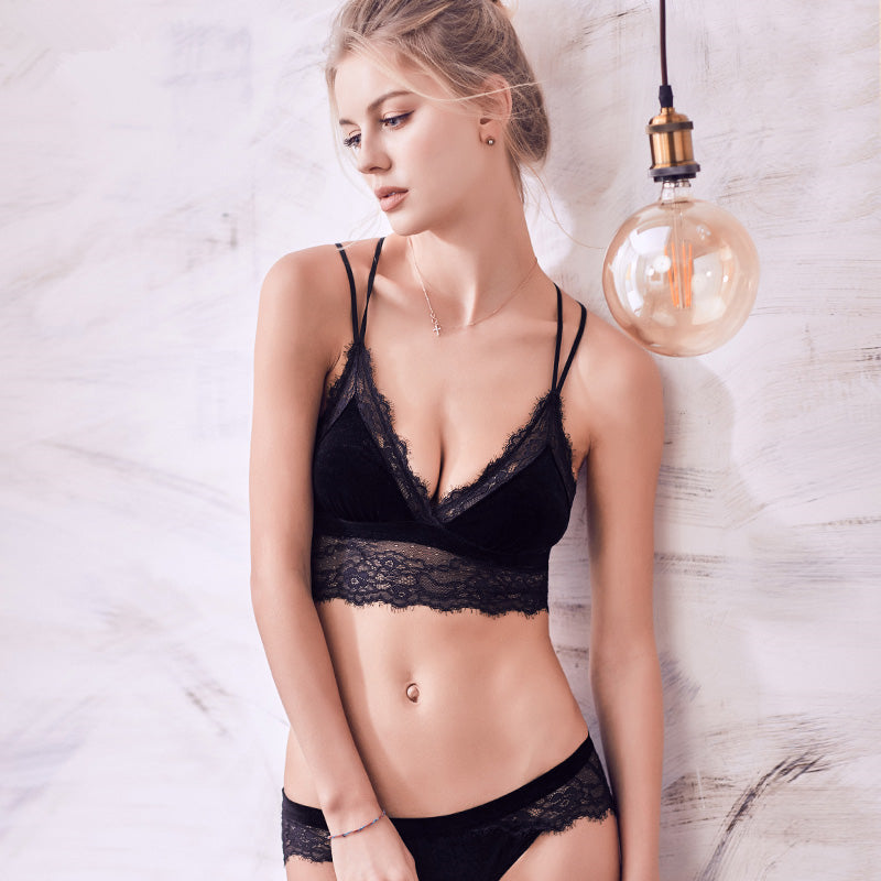 Velvet & Lace Strappy Bralette and Panty Set - 3 Colors