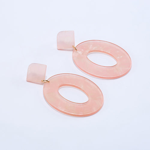 Oval Resin Drop Statement Earrings - 14 Colors