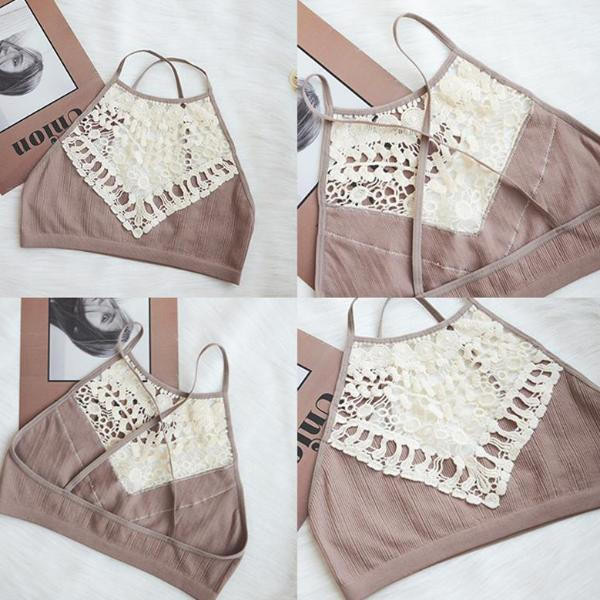Boho Bralette with Decolletage Lace Embroidery - 3 Colors